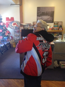 We met the lovely Rose at the Pontiac Museum, who happily modeled her signed jacket from roadster Billy Pierce!