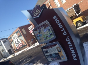 Information centers are all along Route 66, all in this style. Jerry's RV and the magnificent Route 66 mural are behind