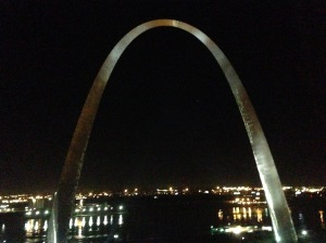 Night view of Arch from hotel room